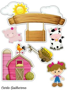 Pin by Ilisa Cristina Diesel on fazendinhas Party Animals, Farm Animal Party, Barnyard Party, Farm Party, 2nd Birthday Parties, Happy Birthday, Farm Quilt, Sweet Sixteen Parties, Minnie Mouse Pink