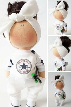 Skateboard Doll Tilda Doll Handmade Doll Muñecas White Doll Soft Doll Bonita Nursery Doll Textile Doll Poupée Fabric Doll Bambole by Tanya E Tilda Toy, Waldorf Dolls, Fabric Dolls, Soft Dolls, Diy Doll, Doll Patterns, Baby Dolls, Doll Clothes, Diy And Crafts