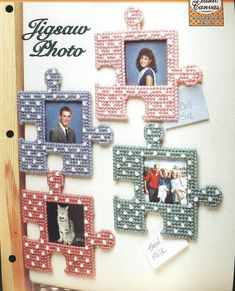 This is a original plastic canvas pattern from The needlecraft Shop Collectors Series and features Jigsaw Photo Magnets which can be