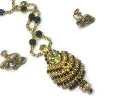 Vintage Sapphire Peridot Rhinestone Kramer NY Pendant Necklace Earring Parure Set by EclecticVintager, $90.00