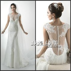 Find More Wedding Dresses Information about Free Shipping Cap Sleeved Application Sewing Beaded Transparent Love Forever Wedding Dress,High Quality dress for wedding guest,China cap parts Suppliers, Cheap cap sleeve lace dress from 100% Love Wedding Dress & Evening Dress Factory on Aliexpress.com