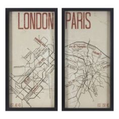 Decor Therapy Paris & London Maps 2-piece Framed Wall Art Set