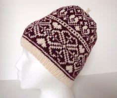 Hand Knit Fair Isle Heart and Flower Hat, Slouchie Hat, Beanie - Scandinavian - Norwegian - Burgundy Red, Plum and Cream - Extra Warm Winter on Etsy, $85.00