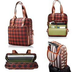 Plaid Doctrine eco laptop tote. Fits a 15-inch laptop, made of recycled materials. $450