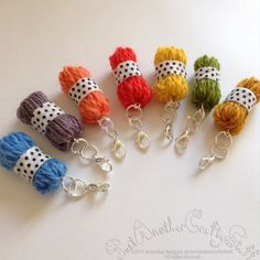 A set of Mini Handcrafted Yarn Ball CharmsCrochet by HandDrawnYarn Diy Jewelry, Beaded Jewelry, Jewelry Design, Jewelry Making, Jewellery, Diy Earrings, Earrings Handmade, Handmade Jewelry, Crochet Tools