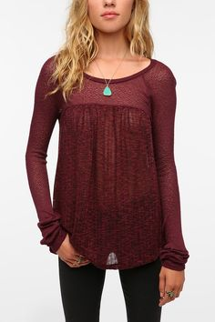 Kimchi Blue Sweater Knit Baby Doll Top - Urban Outfitters Burgandy Boho