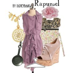 Rapunzel, created by disneybound- what's with the hideous shoes on all these outfits?!?!?