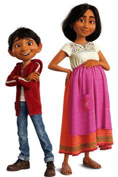 Miguel ,sa mère et sa petite sœur : coco