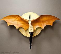 Bat woman...wood work by John Morris