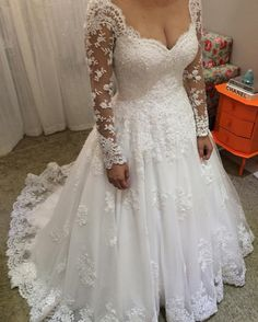 Plus Size Long Sleeves Lace Wedding Dress
