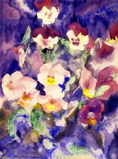 Charles Demuth (American, Pansies, Watercolor and graphite on paper Chrysler Museum of Art, gift of an anonymous donor, Charles Sheeler, Charles Demuth, Watercolor Artwork, Watercolor Flowers, Art Amour, Chrysler Museum, Digital Museum, Collaborative Art, Oil Painting Reproductions