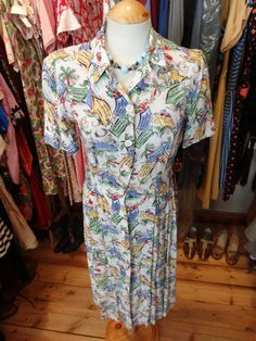 1940s Novelty Print Ships Dress Size 1214 by PepperLaneExclusives, $150.00