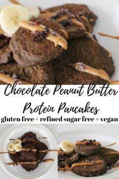 gluten free / refined sugar free / vegan / flourless chocolate peanut butter protein pancakes using Vega Team protein and greens!