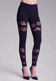 Lace Inset Power Leggings