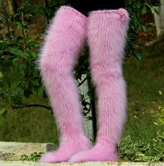 PINK Hand knitted mohair socks fuzzy stockings PINK leg warmers SUPERTANYA S M L #SuperTanya #Casual