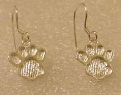 Sterling Silver Paw Print Earrings 925 Dog Cat Petite Dainty Fish Hook #Unbranded #DropDangle