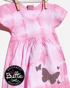 462165667b6 Light pink and white tie-dyed 6-12 month baby girls cotton cap-sleeved  dress with glittery butterflies, gift for baby girl