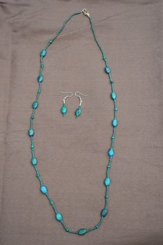 Bluish green oval stone beaded necklace and by TheVelvetMannequin, $25.00