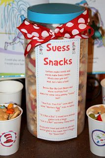 Dr Suess Snack Mix.....with cute little poem to go with it, describing all the parts of the snack mix.