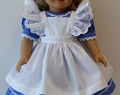 Alice in Wonderland dress for American Girl and similar 18 inch dolls