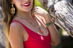 Handmade in Mexico, beautiful jewelry created by artisans! The gold filigree earrings are light and delicate, the Lola sead beed necklace is on point and the Setya Mayan bracelet adds a splash of color.