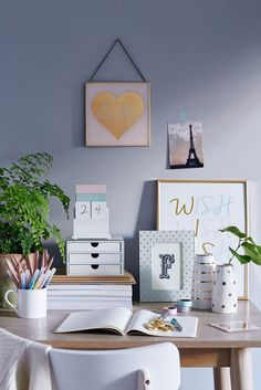 Home office ideas | Office Inspiration | Cute pastel accessories help create a…