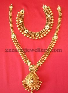 Jewellery Designs: 20 gms Necklace 40 gms Long Set