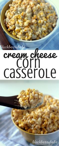 Cream Cheese Corn Casserole - Easy and cheap side dish with corn, cream cheese, green chiles, cheddar and spices - Recipe via blackberrybabe.com