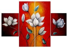 Modern Paintings Paintings and Drawings: Designs to Paint Easy Paintings . Art Floral, Easy Flower Painting, Flower Art, Modern Oil Painting, Painting & Drawing, 3 Piece Art, Art Vintage, Panel Art, Wooden Art