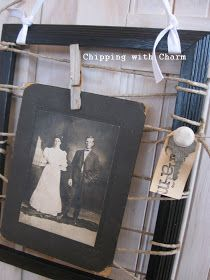 """Chipping with Charm: Frame Makeover...a """"new"""" look for some old pictures frames..."""