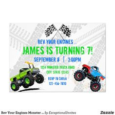 Shop Rev Your Engines Monster Truck Birthday Invitation created by ExceptionalInvites. Personalize it with photos & text or purchase as is! Monster Truck Games, Monster Truck Birthday, Birthday Supplies, Party Supplies, Special Birthday, 3rd Birthday, Custom Invitations, Party Invitations, Monster Birthday Invitations