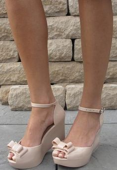 Nude jelly wedge patent look sandal with bow (Jenna) from Chockers Shoes
