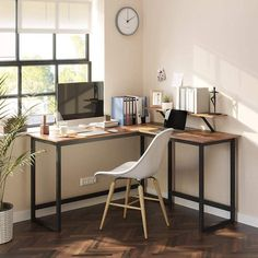 Bedroom Office Combo, Home Office Setup, Home Office Space, Study Office, Home Office Desks, Small Space Office, Office Room Ideas, Desks For Small Spaces, Guest Bedroom Home Office
