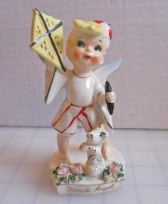 RARE Vintage Lefton March Angel Boy Figurine 556 with Kite Puppy Minty   eBay