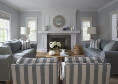 Gorgeous beach home in soothing grey and white stripes. L.O.V.E.