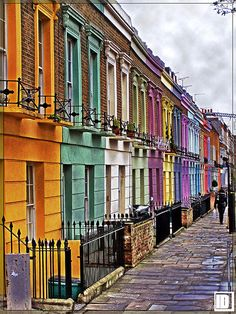 Camden Town, UK. I'd love to live in a pretty row of houses like these <3