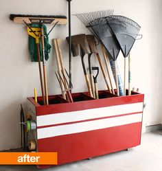 File cabinet turned garage storage (Apartment Therapy)