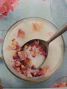 Bath Salts: Mix 1/2 c. Epsom Salt, 1/2 c. Sea Salt, 1 tbsp dried rose petals & 2 drops fragrance (optional). Add to warm bath water.
