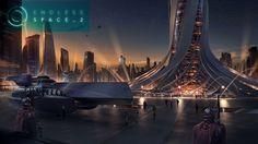 Futuristic City, Futuristic Architecture, Concept Architecture, Fantasy Concept Art, Sci Fi Fantasy, Fantasy World, City Landscape, Fantasy Landscape, 2k Wallpaper