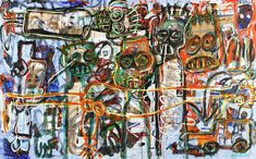 Aboudia Enfants dans la Rue 2 2013 Acrylic and mixed media on canvas 125 x 200 cm Saatchi Gallery, America Images, Galleries In London, Elements Of Art, Mixed Media Canvas, Geometric Art, Figure Painting, Rue, Artist At Work