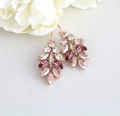 Rose Gold earrings, Bridal earrings, Bridal jewelry, Blush crystal earrings, Crystal cluster, Swarovski crystal earrings, Statement earrings by CoutureBridalStudios on Etsy