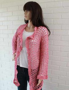 Super Easy Filet Cardigan Crochet Pattern(with 3 length options)