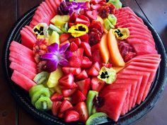 Fresh Fruit Platter- watermelon, starwberries, kiwi, blood oranges, cantaloupe, pineapple, edible pansy's