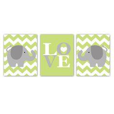 Elephant Print Set of Three 8x10 Love Chevron Elephant Print Set for Nursery Artwork. $42.00, via Etsy.