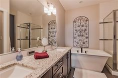 Stand alone shower, soaker tub & double sinks. Granite in all bathrooms. Diamond Realty & Associates Ltd. Double Sinks, Soaker Tub, Selling Real Estate, Home Buying, Open House, Granite, Bathrooms, Shower, Diamond