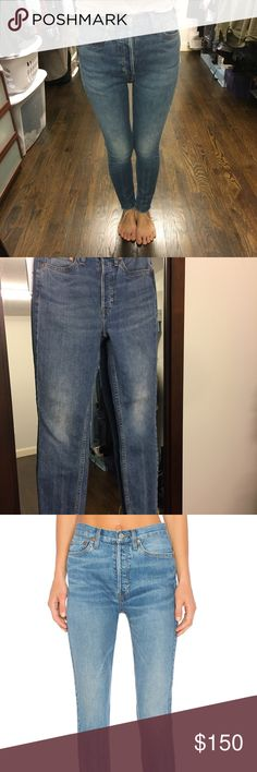 "ORIGINALS HIGH RISE ANKLE CROP Gently worn pair of re/done high waisted blue jeans in size 25.  98% cotton , 2% elastane, Machine wash, Button fly, Intentional fading throughout, Raw cut hem  Due to the one of a kind nature of product, distressed details and denim wash may vary 14"" at the knee narrows to 10.5"" at the leg opening Re/Done Jeans Ankle & Cropped"