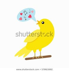 flat vector illustration isolate on a white background Canary Singing, Tweety, Spring, Concept, Illustration, Fictional Characters, Image, Art, Art Background