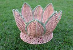 Macrame,Basket,Handmade,Lotus Blossom shape,Natural,Harmony colors,Pale Pink,Nude and Jade colors ,Storage,Decorative,Gift,Vintage