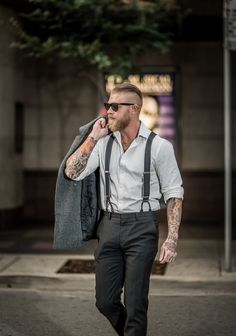 Josh Mario John. Men's Style and Fashion. Beards. Suspenders, Trousers, Oxford dress shirt, sunglasses. Tattoos.