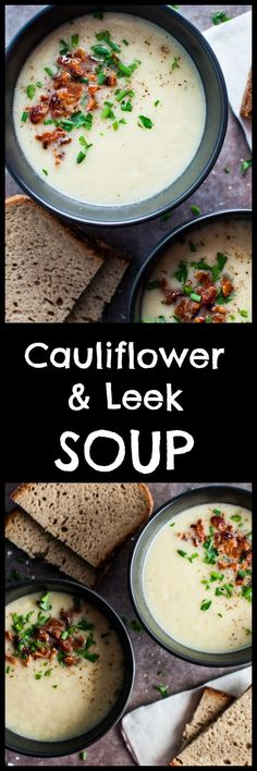 and Leek Soup Cauliflower and leek soup – a light and healthy meal that is ready in only 40 minutes!Cauliflower and leek soup – a light and healthy meal that is ready in only 40 minutes! Leek Recipes, Healthy Soup Recipes, Vegetarian Recipes, Cooking Recipes, Leek Soup Healthy, Donut Recipes, Healthy Meals, Good Food, Yummy Food